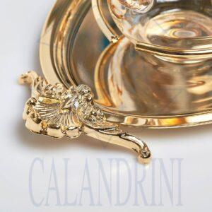 Segnaposto Servizio ampolle decorazione oro su vassoio ottone