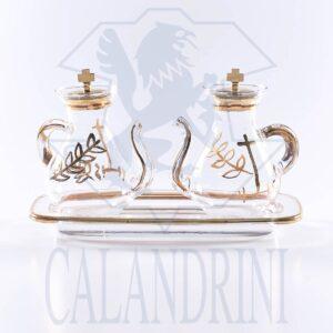 Servizio ampolle decorazioni oro su vassoio in vetro con beccuccio