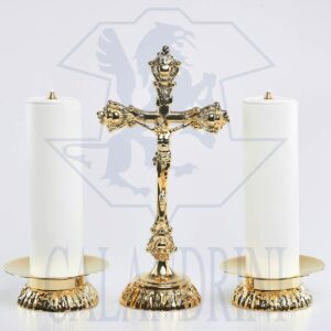 Candeliere fusione con piatto 15 cm., bossolo 5 cm.