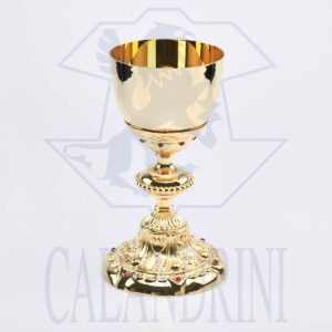 Baroque goblet in gilded fusion with ruby inserts