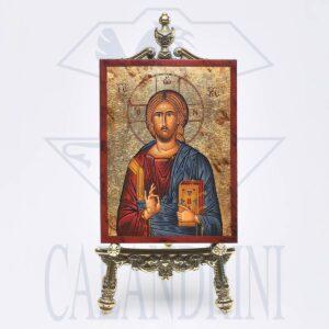 Art. 238 Icona serigrafata, liscia, foglia oro 11x15 cm. CHR.