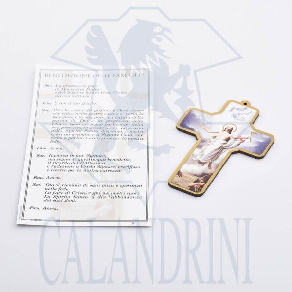 Croce Resurrezione con bordo oro e pergamena con preghiera