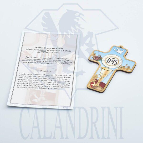 Croce Comunione con bordo oro e pergamena con preghiera
