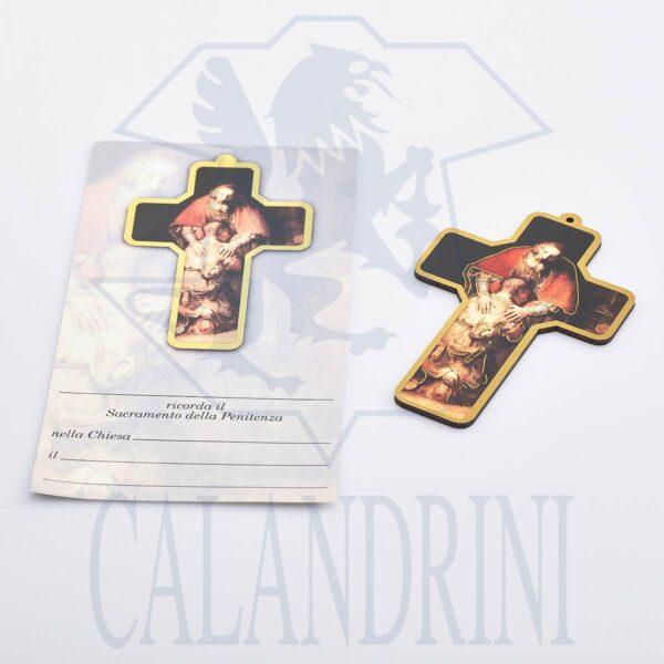 Croce semplice Penitenza con bordo oro